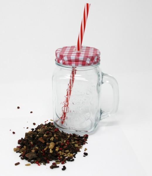 Eistee Set mit coolem Trinkglas mit Deckel, Henkel und Strohhalm & 100 g Grüntee
