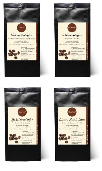 4 x Kaffee zu Weihnachen - Weihnachtskaffee, Spekulatius , Lebkuchen , Gebrannte Mandeln - gemahlen