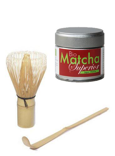 Matcha Set - Original Japan Bio Matcha - Superior - 30 g Dose PLUS Matcha Besen Chasen - Matchabesen PLUS Matcha Bambuslöffel Chashaku