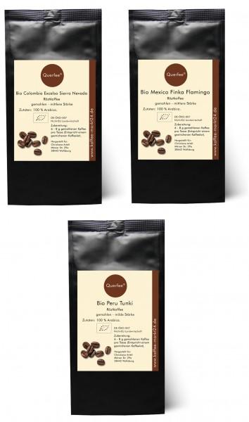 3 x Bio Kaffee als Kaffee Set - Bio Kaffee aus verschiedenen Ländern - 3 x 75 g - 225 g3 x Bio Kaffe
