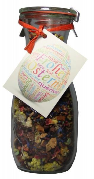 """Tee im Glas - Früchtetee zu Ostern """"Ostertee"""" mit Zucker Ostereiern in einer Weck® Flasche - 100 g"""