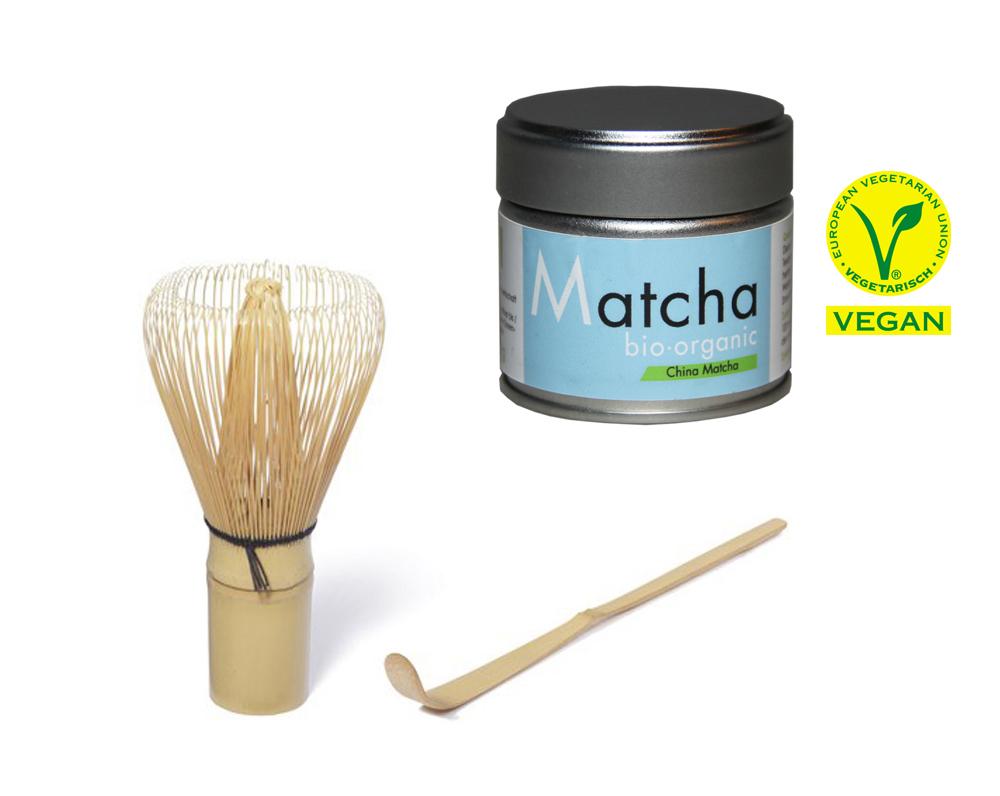 Matcha Starter Set - Bio Matcha Tee - Blue Style - 30 g Dose PLUS Matcha Besen PLUS Matcha Löffel von Quertee®
