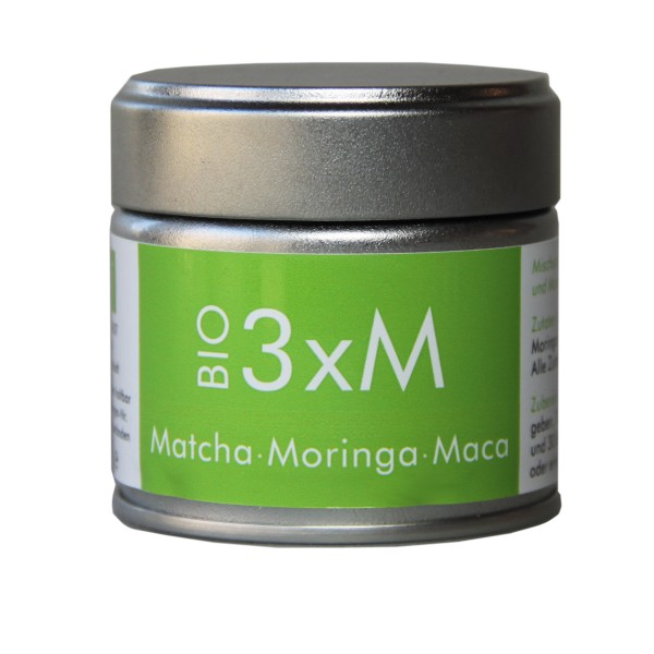 3xM - Japanischer Matcha Tee mit Moringa und Maca als Pulver - 30 g Dose