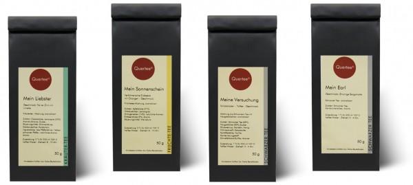"""Quertee® Nr. 24 - Tee Geschenkset - 4 x 50 g - """"Hab Dich lieb"""" - Für Männer"""