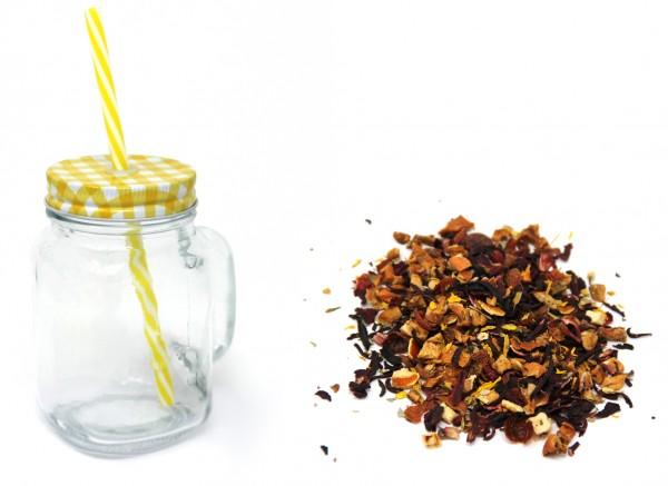 """Eistee """"Erdbeerkuss"""" - 100 g Früchtetee & Trinkglas mit Deckel, Henkel und Strohhalm"""
