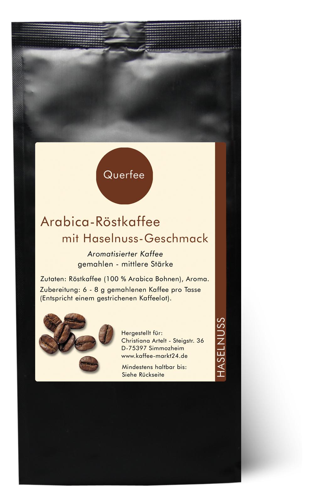 Haselnuss - Arabica Röstkaffee mit Haselnuss Geschmack - gemahlen