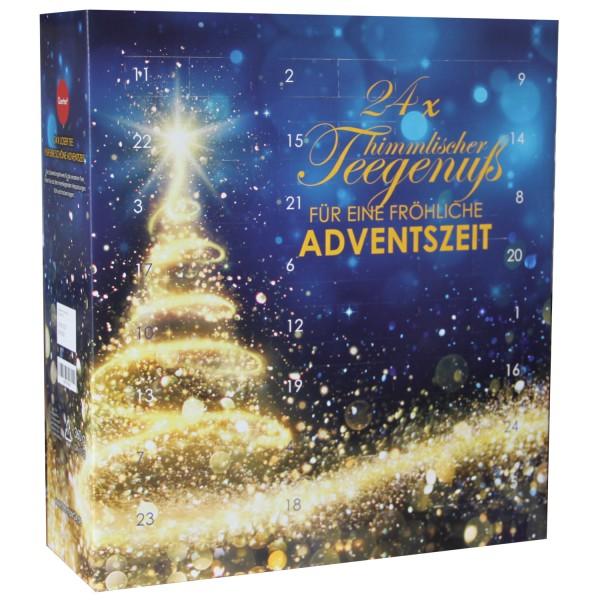 Tee Adventskalender von Quertee mit 24 Türchen - Gold - 24 x loser Tee