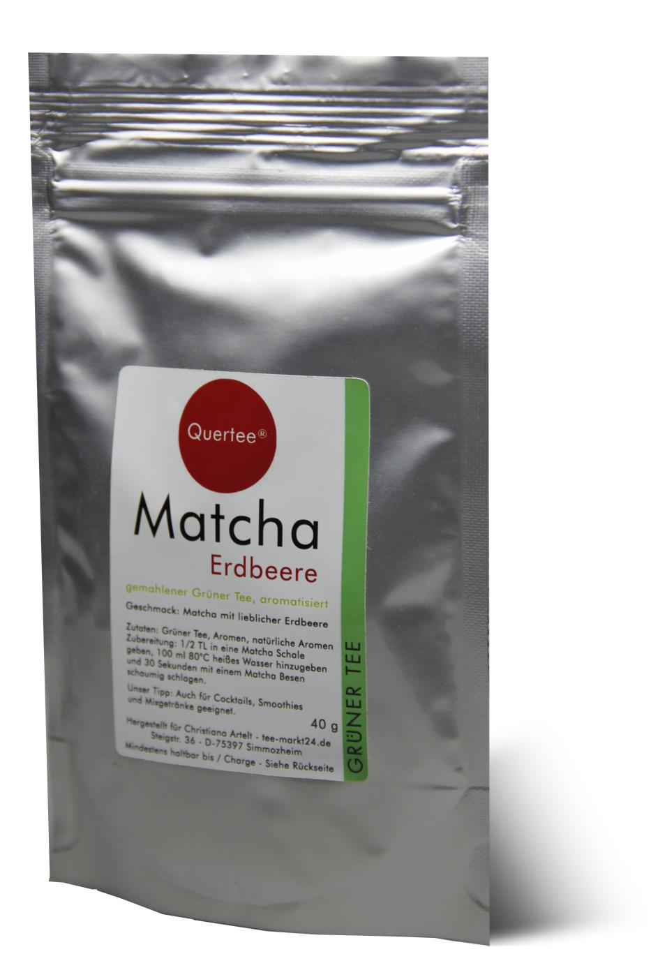 Matcha Erdbeere- 40 g im Zip-Beutel - Matcha Tee mit Erdbeergeschmack von Quertee®