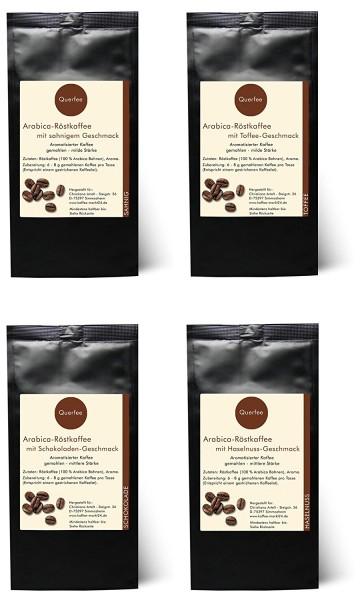 4 x Kaffee mit Geschmack Probierset - Mandel Zimt, Toffee, Schokolade, Macadamia - gemahlen
