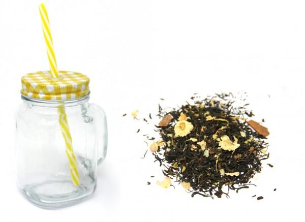 """Eistee """"Sonnige Mango"""" - 100 g Grüner Tee & Trinkglas mit Deckel, Henkel und Strohhalm"""