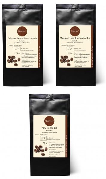 3 x Bio Kaffee als Kaffee Set - Bio Kaffee aus verschiedenen Ländern - 3 x 75 g - 225 g