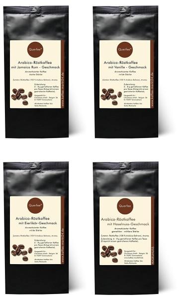 4 x Kaffee mit Geschmack Probierset - Jamica Rum, Vanille, Eierlikör, Haselnuss - gemahlen-
