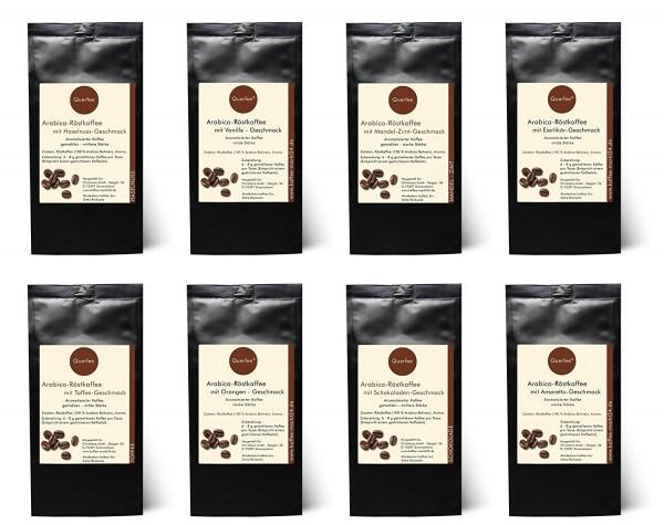 8 x verschiedene Kaffee mit Geschmack als Kaffee Probierset oder Kaffee Geschenkset