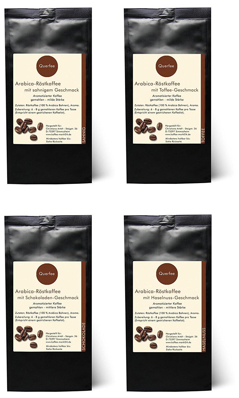 4 x Kaffee mit Geschmack Geschenkset - Sahne, Toffee, Schokolade, Haselnuss - gemahlen - 4 x 75 g