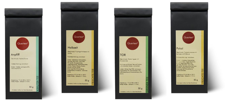Quertee® Nr. 25 - Tee für die Weltmeisterschaft - 4 x 50 g - Anpfiff, Halbzeit, TOR, Pokal