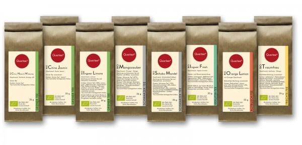Probierset Bio Tee Quertee® Nr. 1 - 8 x 25 g verschiedene Biotee als Geschenkset / Probierset