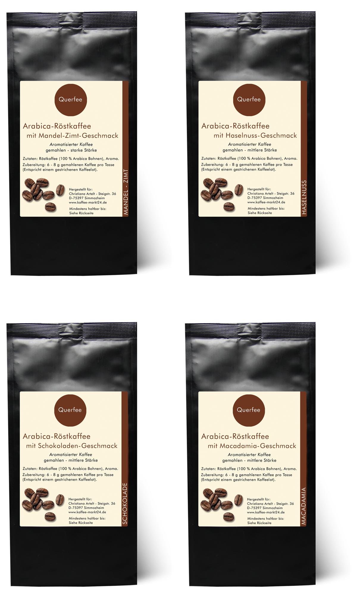 4 x Kaffee mit Geschmack Probierset - Mandel Zimt, Toffee, Schokolade, Macadamia - gemahlen - 4 x 75 g