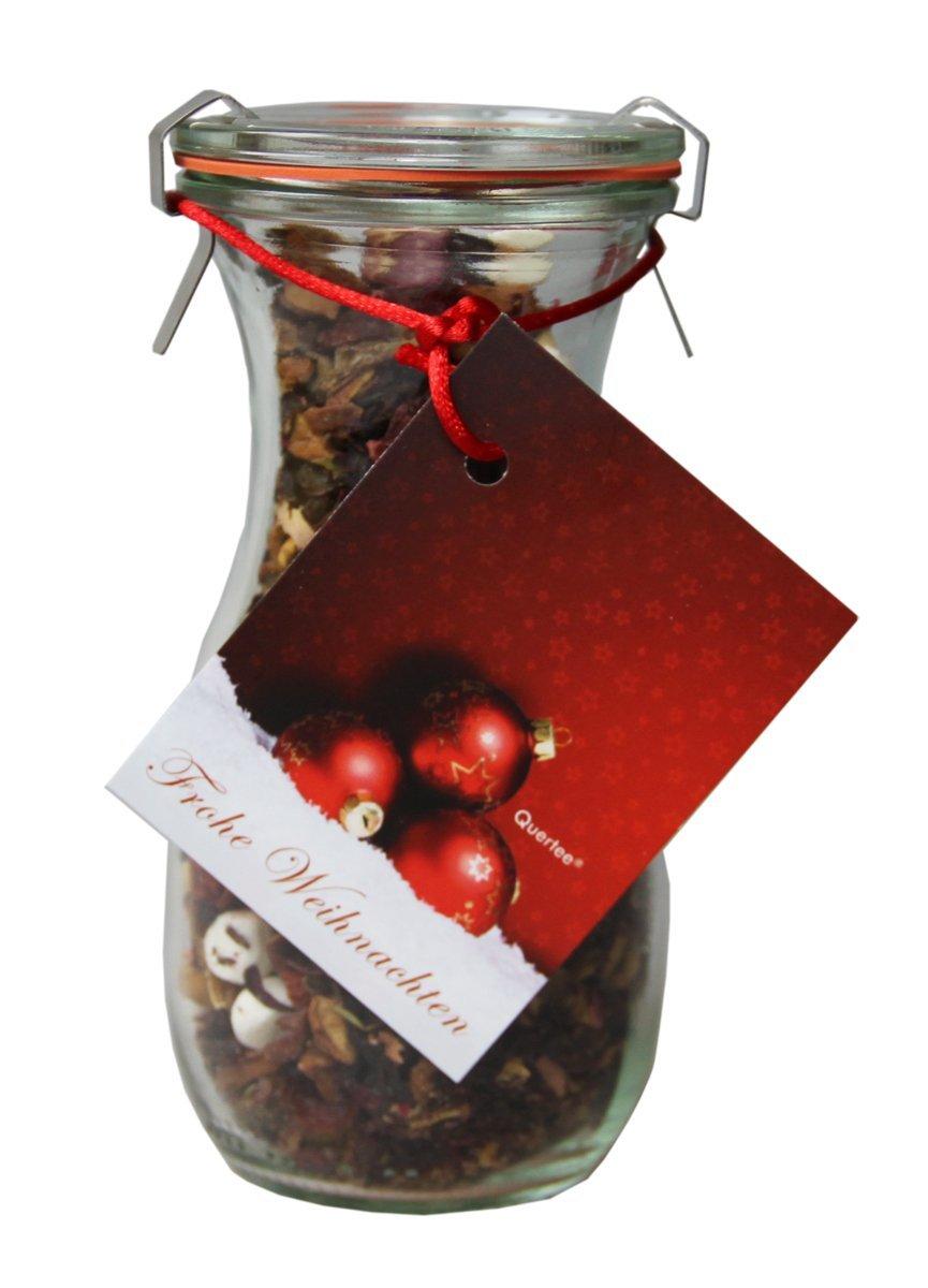 """Tee im Glas - Weihnachtstee Wintertee """"Frohe Weihnachten"""" in einer Weck® Flasche - 100 g Tee"""