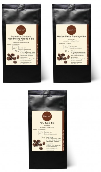 4 x Bio Kaffee als Kaffee Set - Bio Kaffee aus verschiedenen Ländern - 3 x 75 g-Copy-Copy