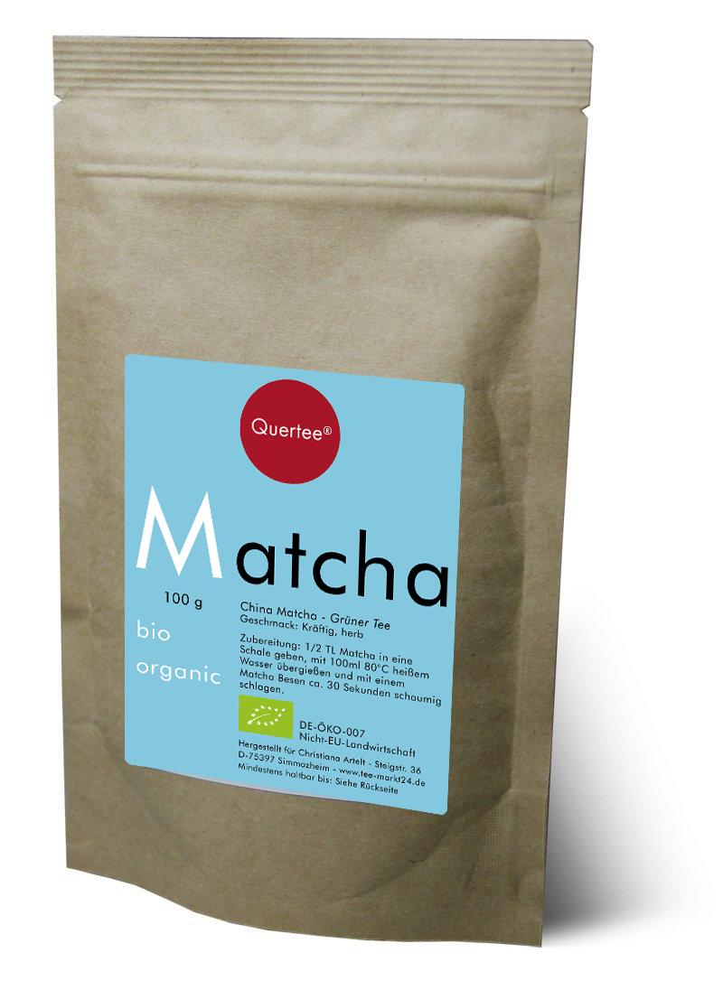 Bio Matcha Tee - Blue Style - 100 g im Zip Beutel von Quertee®