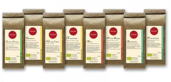 Probierset Bio Tee Quertee® Nr. 2 - 8 x 25 g verschiedene Biotee als Geschenkset / Probierset