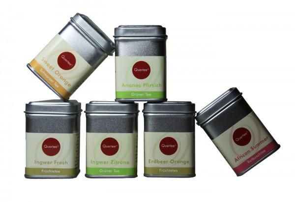 Quertee Nr. 31 - 6 x Kleine Teedosen zum Probieren und Verschenken gefüllt mit je 25 - 30 g Tee