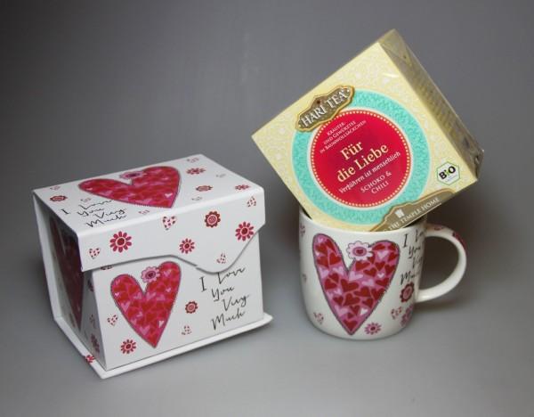 """Tee-Becher - Set für Verliebte """"I love you very much"""" - Porzellan plus Hari Tee """"Für die Liebe"""""""