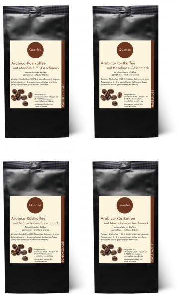 4 x Kaffee mit Geschmack Probierset - Mandel Zimt, Haselnuss, Schokolade, Macadamia - gemahlen