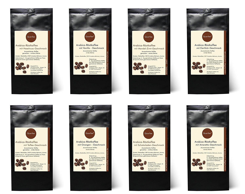 8 x Kaffee mit Geschmack Probierset Geschenkset - Haselnuss, Vanille, Mandel Zimt, Eierlikör, Toffee, Orange, Schokolade, Amaretto -Geschmack - Arabica Röstkaffee mit Aroma - gemahlen - 8 x 75 g (600 g insgesamt) - Geschenkset - Probierset