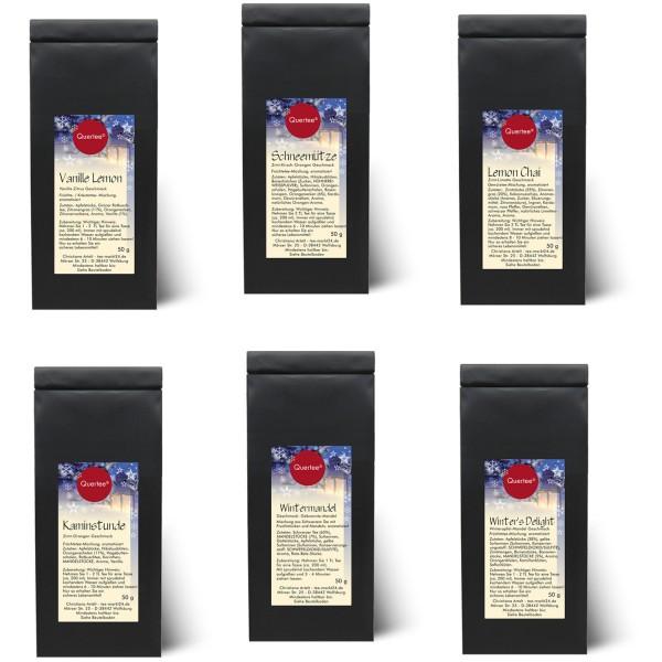 Geschenkset Weihnachtstee Quertee® Nr. 7 - 6 x 50 g Tee - Wintertee
