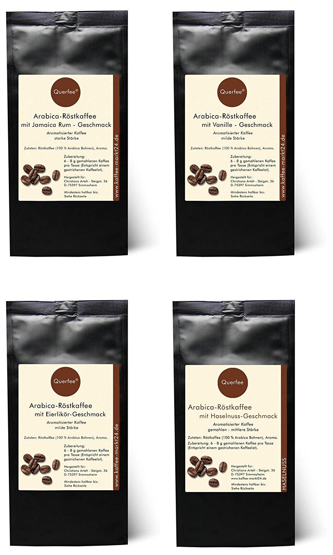 4 x Kaffee mit Geschmack Geschenkset - Haselnuss, Mandel-Zimt, Sahne, Macadamia - gemahlen - 4 x 75 g